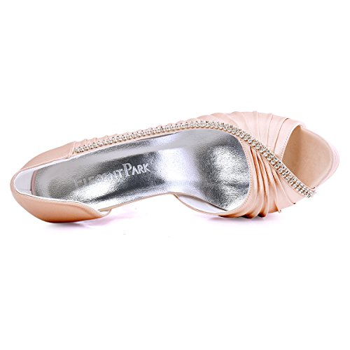 Elegantpark - Zapatos de Vestir de satén Mujer Rosa