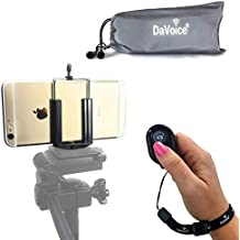 DaVoice Cell Phone Tripod Adapter - Bluetooth Remote Control - Travel Bag Compatible with iPhone Tripod Mount Holder 8 7 X XR XS Max SE 6S 6 Plus Galaxy S9 S8 S7 Smart Cell Phone Tripod Mount (Black)