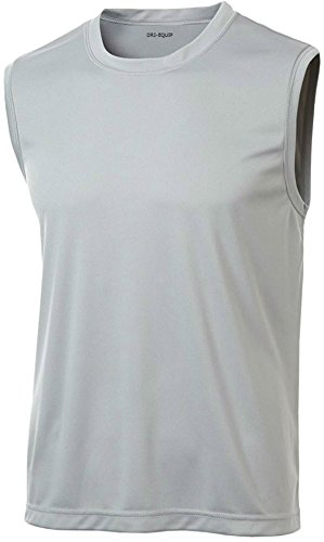 DRI-EQUIP(tm) Mens Sleeveless Moisture Wicking Muscle T-Shirt-Silver-L (Tee Sleeveless Muscle)