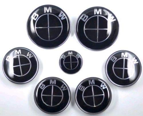 LANPARD 7pcs FIT for BMW² Full Black Badge Emblem Set Wheel Centre Caps e60 e61 e46
