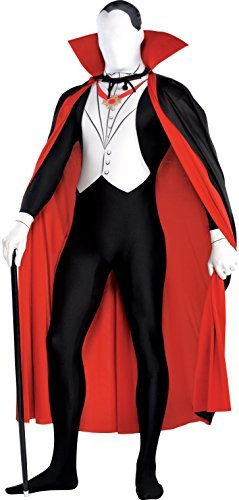 [New Amscan Mens Halloween Vampire Second Skin Party Suit & Cape Fancy Dress Costume by Amscan] (Vampire Suit)
