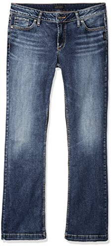 Silver Jeans Co. Women's Elyse Relaxed Mid-Rise Slim Bootcut, Power Stretch Medium Indigo 33x31