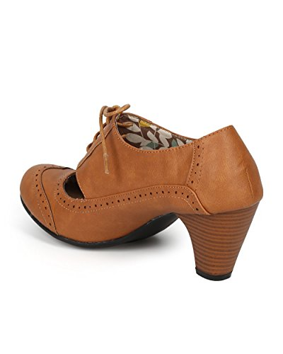 Refresh Women Leatherette Cut Out Lace Up Chunky Heel Spectator Pump CH01 - Tan Leatherette (Size: 7.0) by Refresh (Image #2)