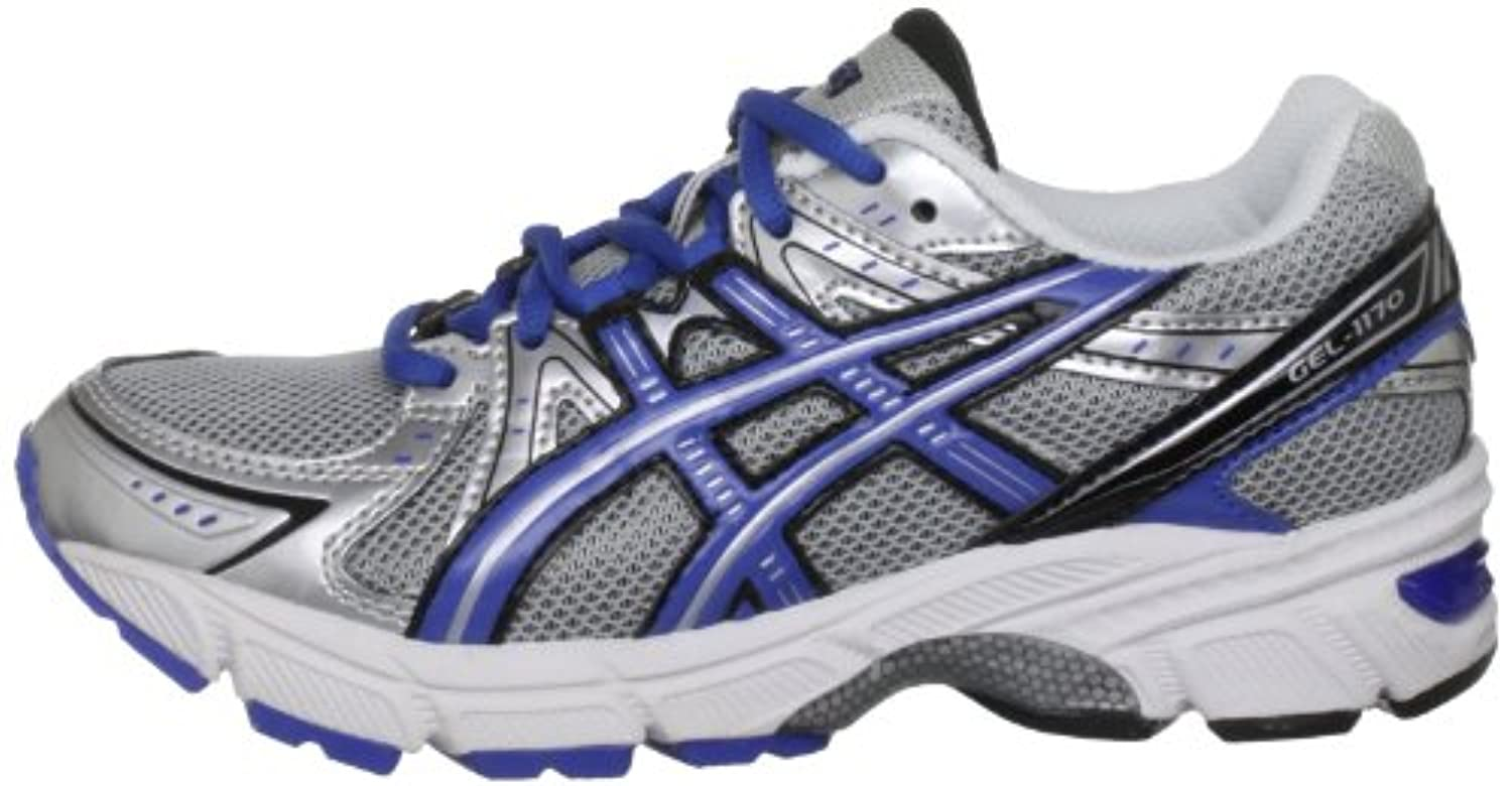 Asics Gel 1170 Gs Silver/Black/Blue Sports Running C131N 9342 2 UK Junior