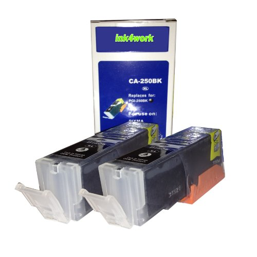ink4work© 2 PACK PGI-250XL Black Compatible Ink Cartridge for Pixma IP7220, MG5420, MG6320, MX722, MX922, Office Central