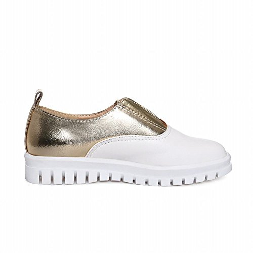 Carolbar Femmes Couleurs Assorties Bungee Confort Mode Casual Appartements Chaussures Or