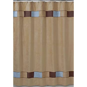 chic 1 Piece Brown Blue Horizontal Stripe Printed Shower Curtain ...