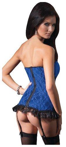 Coquette Korsage mit Schnürung No1089, blau Schwarz