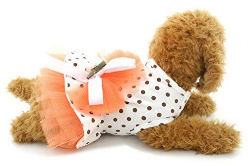 SELMAI Princess Summer Dress for Small Dogs Polka Dots Cotton Puppy T-shirt Skirt Bowknot Pet Doggie Summer Beach Travel Clothes Outfits Orange XS