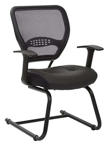 (SPACE Seating Professional AirGrid Dark Back and Padded Black Eco Leather Seat, Fixed Arms and Lumbar Support Sled Base Visitors Chair )