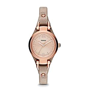 Fossil Women's ES3262 Georgia Mini Three Hand Leather Watch - Sand