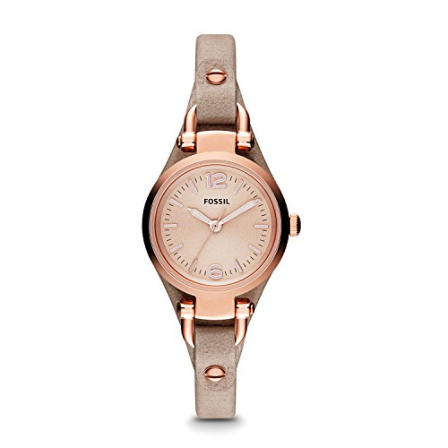 Fossil Women's Georgia Mini Quartz Stainless Steel and Leather Casual Watch, Rose Gold, Tan (Model: ES3262)
