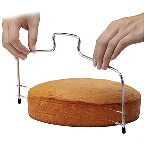 Bread Cut - Double Line Adjustable Baking Cake Bread Slicer Cutter Strings Knife Soap Diy Mould Stainless Steel - Icing Collections Baking Wedding Flowers Case Cake Silicon Supplies Deco
