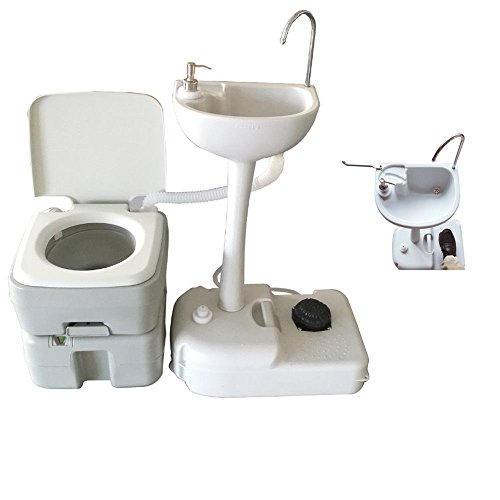 VINGLI Upgraded Portable Garden Wash Sink and Toilet Combo, Flushing Porta Potty, Removable Hand Washing Station w/Wheels Towel Holder and Soap Dispenser, for Camping/Boating/RV (20L toilet)