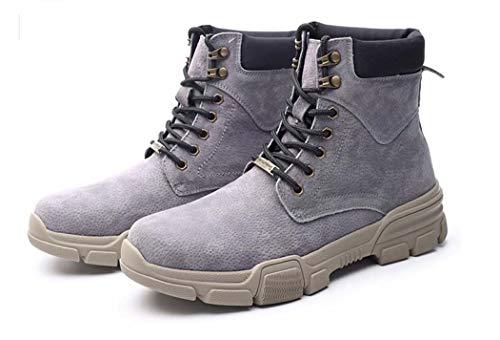 Mens Martin Boots Autunno Inverno Punta Rotonda Lace Up Warm Stivali Da Combattimento Tendenza Britannica,Gray,46EU