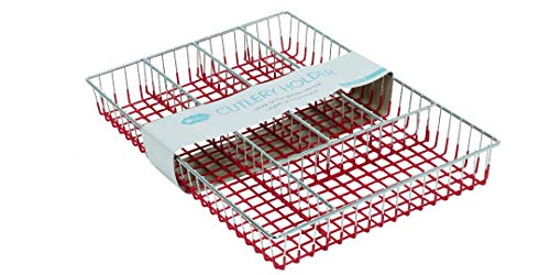 - 5 Compartment Cutlery Tray Utensil Flatware Dividers Kitchen Drawer Organizer Cutlery Holder (Red)
