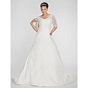 kekafu Una línea V-cuello capilla tafetán tren vestido de novia con apliques rebordear Side