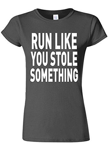 ねじれスリップ広くRun Like You Stole Something Gym Novelty Charcoal Women T Shirt Top-XL