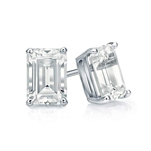 bbamjewelry Certified 4-Prong Basket Emerald Cut Real Moissanite Stud Earrings In 14K White Gold Plated
