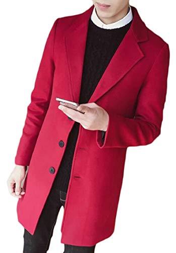 Single Premium Red Plain Coat Wool Pea Solid Breasted Gocgt Blend Men's Wine xIqUq0P5