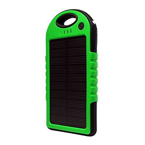 Solar Charger, Powercam, 5000 mAh, Waterproof, Drop Resistant, Shockproof, for iPhones, iPads, Android, Samsung phones, GPS devices and Cameras (Green) by PowerCam