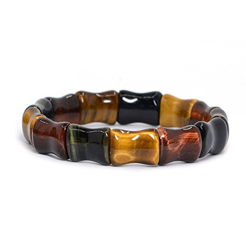 (Natural Multi-color Tiger's Eye Gemstone Bamboo Joint Beads Elastic Stretch Bracelet 7
