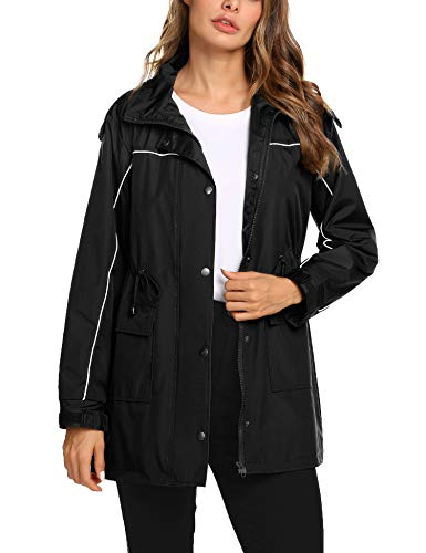 f174e099487 Romanstii Womens Anorak Jacket Long Waterproof Raincoat Outdoor Hooded  Trench Coats Outwear