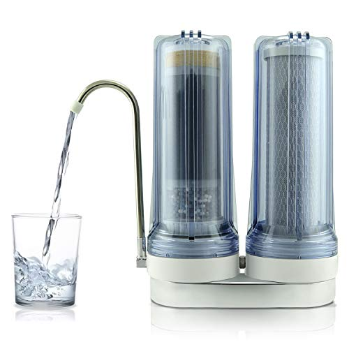 Dual Filter Drinking Water System - APEX EXPRT MR-2050 Quality Dual Countertop Drinking Water Filter - 5 Carbon Block and 5 Stage Mineral Cartridge - Best Alkaline Filtration System - for Healthier Safer Purified Water (Clear)