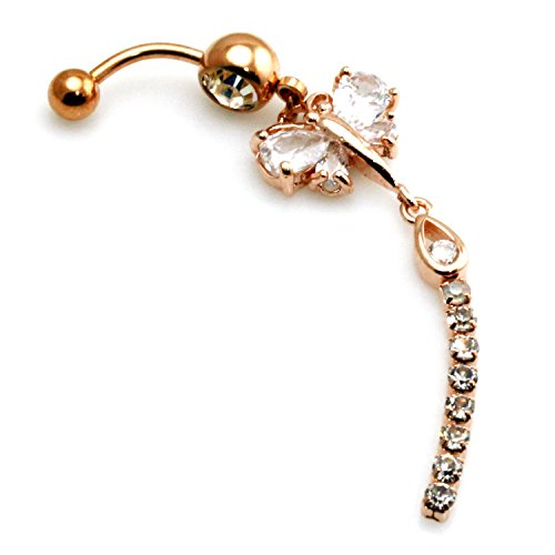 Rose Gold Plated Stainless Steel Cubic Zirconia Studded Butterfly Belly Button Ring