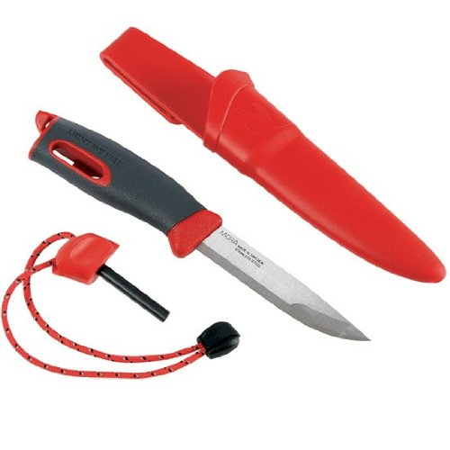 Light My Fire Swedish FireKnife Fixed Blade Knife with 9.5 cm (3.75 Inch) Sandvik Stainless Steel Blade and Swedish FireSteel Fire Starter, Red
