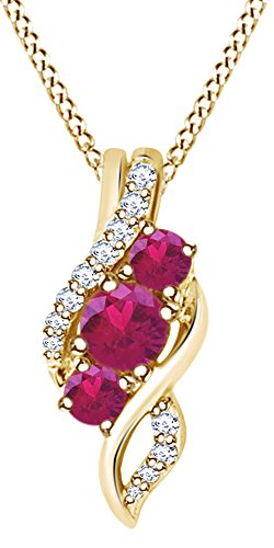 AFFY Round Cut Simulated Pink Ruby Natural Diamond Swirl Pendant Necklace in 10K Solid Yellow Gold