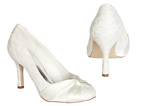 Kevin Fashion gymz672señoras stiletto tacón alto satén noche fiesta novia boda nudo zapatos blanco