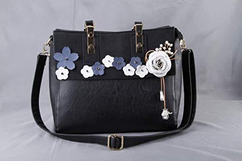 Floral Vegan Genuine Black Large Leather Handbag Shoulder Bag Work Laptop Briefcase with Zipper Top Handle Rose Adjustable Strap-Travel Flight Carry On Women Birthday Anniversary Gift Girl Friend Mom