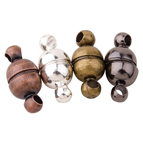 Pandahall 100 Sets Round Brass Magnetic Clasps for Bracelet Necklace