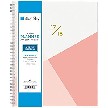 """Blue Sky 2017-2018 Academic Year Weekly & Monthly Planner, Twin-Wire Bound, 8.5"""" x 11"""", Cali Pink"""