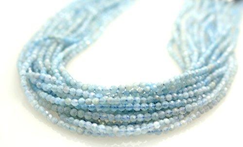 GoodBead Beautiful Light Blue Aquamarine 3mm Shiny Faceted Beads 15.5