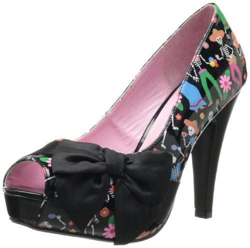 Pin Up Couture BETTIE-13 BETT13/BPT-BSA, Blk Pat-Blk Satin (Muertos Print), 36