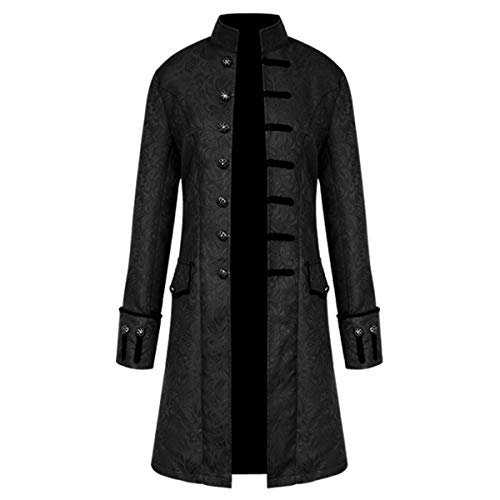 iCos Unisex Medieval Steampunk Coat Men Stand Collar Jacket Formal Halloween Costume Uniform (Small, Jacquard Black) -