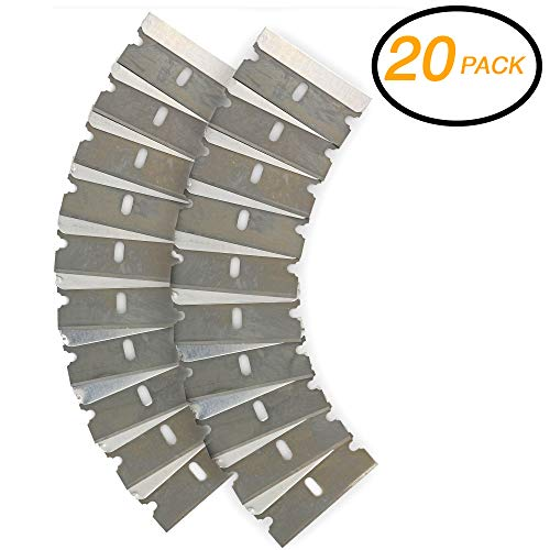 (Emraw Razor Replacement Blade Industrial Razor Ultra Sharp Strong Single Edge Scraper Steel Blades for Scraping and Cutting Box Cutter and Glass Scraper Razor Blade (Pack of 20))