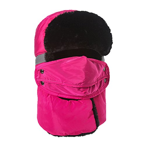 Sombreros Esquí Bombardero Para Sombrero RoseRed Máscara Winter De Patinaje HikingWindproof Cálido Ear Unisex Caza De Esquí De Hombres Invierno Sombrero Flap qPf0w0
