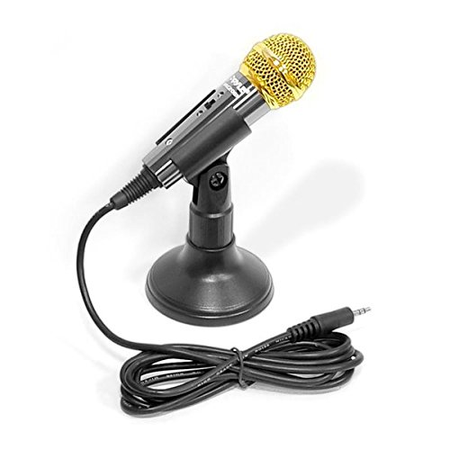 - Corded Handheld Vocal Condenser Microphone - Professional Mini Wired Cardioid Mic w/Acoustic Pop Filter, 3.5mm Connector, Karaoke, Solo Live Singing, Computer Smartphone Use - Pyle PMIKC20BK (Black)