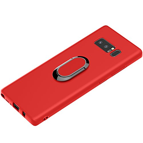 Galaxy Note 8 Case, WATACHE Ultra Slim Thin Form-Fitted Premium Flexible TPU Shockproof Protective Cover Case with 360 Degree Rotating Ring Holder for Samsung Galaxy Note 8 (Red) ()