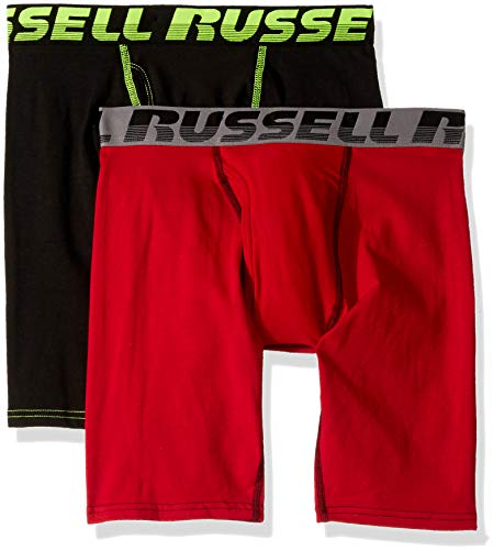 Russell Athletic Men's Performance Comfort Stretch Boxer Briefs (2 Pack) Underwear, Black/Red, Large