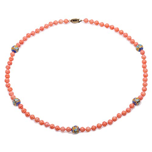 JYX Single-strand Coral Necklace Irregular Shape 6.5mm Pink Coral Beads Necklace with Cloisonne Beads for Women 21
