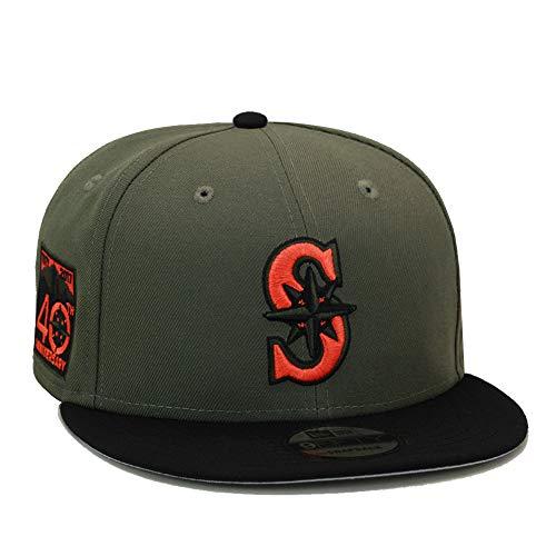 (New Era 9fifty Seattle Mariners Snapback Hat Cap Olive/Black/Orange)