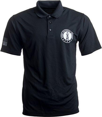 Ann Arbor T Shirt Co  Army National Guard Polo W Sleeve Flag   U S  Military Veteran Collared Shirt  Polo L