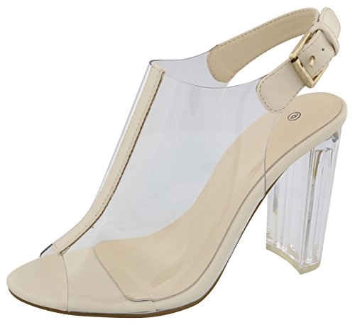 Cambridge Select Women's Peep Toe Clear See Through Buckled Slingback Chunky Lucite Heel Ankle Bootie,6.5 B(M) US,Beige