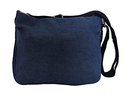 angesagte kultige Tasche Umhaengetasche mit aufgedrucktem Stern , Canvas Leder Mix,blau