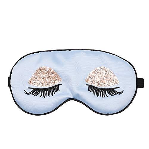 (ACTLATI Silk Sleep Eye Mask Sequin Eyelashes Blindfold with Elastic Strap Soft Eye Cover for Night Sleeping, Travel, Nap Blue)