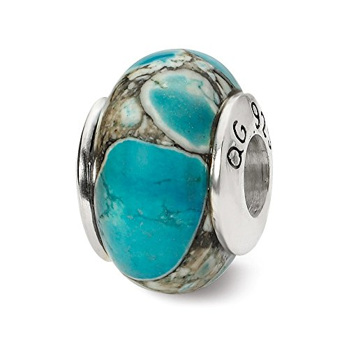 - 925 Sterling Silver Charm For Bracelet Blue Mosaic Magnesite Stone Bead From The Earth Fine Jewelry Gifts For Women For Her